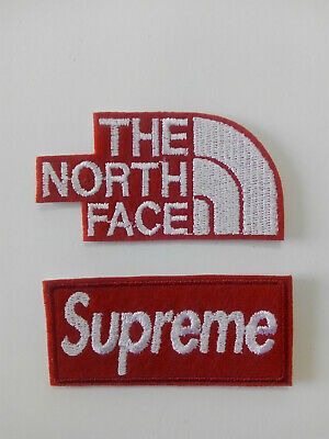 Lote 2 Parches bordados para coser estilo The north face 7/3,5 cm , Supreme 7/3