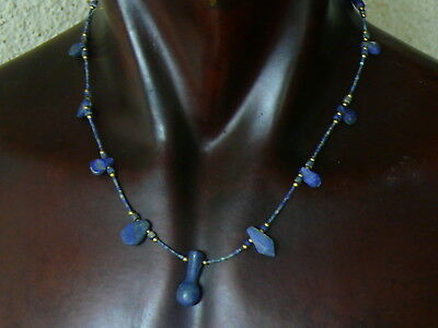 (eV158)  UNISEX Necklace Egyptian style, hand carved Lapis Lazuli beads 19""
