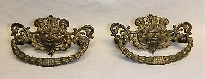 Antique Brass Drawer Pulls ~ Set of 2 ~ Man of the North Wind ~ Grotesque Face