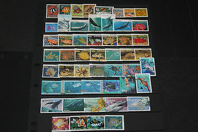 Bulk Lot Aust Fish,Sealife Themed Stamps X 51 A/Di.,1966-2014 Sets & Singles F/U