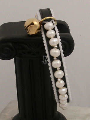 Luxury Freshwater Pearl Ancol Safety Cat/Kitten Black Collar Silver Beads & Bell