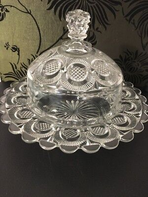 Antique Brilliant Cut Covered Butter Dish Or Cheese Dish