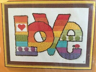 NOS Jiffy Stitchery LOVE Crewel Embroidery Kit Chris Davenport Rainbow Lady Bug
