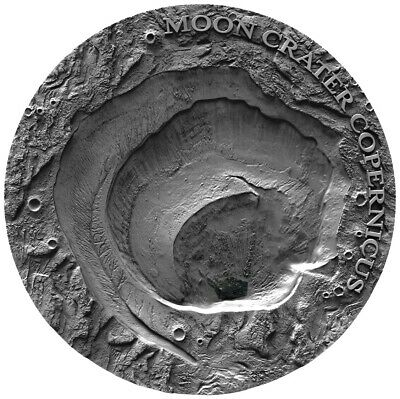 2019 1 Oz Silver $1 Niue MOON CRATER COPERNICUS Antique Finish Coin.  ON HANDS