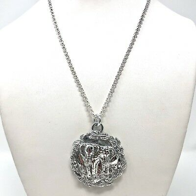 Arthur Court Necklace Aluminium Elephant Couple 1.5in Jewelry 18 To 20in Chain