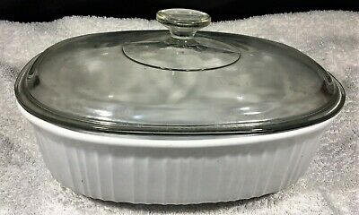 French White Oval Ceramic Casserole Dish with Glass Cover Stoneware 2 1/2 Qt