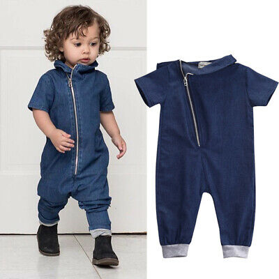 US Toddler Baby Boy Denim Short Sleeve Romper Jumpsuit One Piece Clothes Outfits