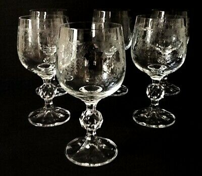 Bohemia Crystal CASCADE Water / Wine Goblet  set of 6   NEW IN BOX