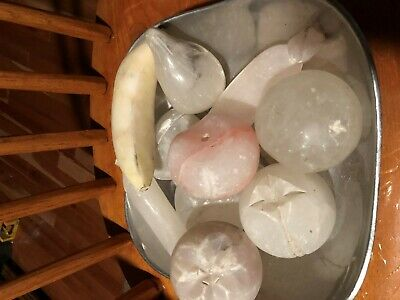 10pc Vintage Italian Alabaster Marble Stone Fruit:  Pear Peach Apple Banana