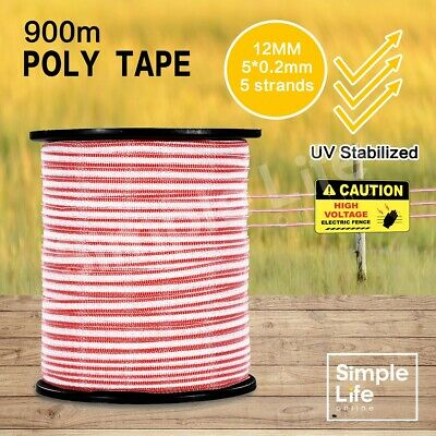 900M Electric Fence Poly Tape Energiser Stainless Steel Roll Wire Kit Poly Tape