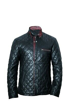 Mens Real Black Leather Quilted Slim Fit Biker Jacket Casual Outwear LCM2