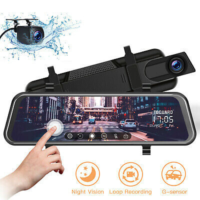 "TOGUARD 10"" Mirror DashCam Full Touch Screen Streaming Dual Lens Rearview Camera"