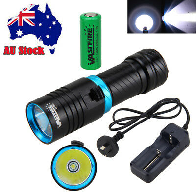 Waterproof 10000LM T6 LED Scuba Flashlight Torch Fishing Lamp Rechargeable 26650