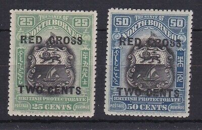 BC545) North Borneo 1918 Red Cross Ovpts. on 25c & 50c Arms, SG 229/30