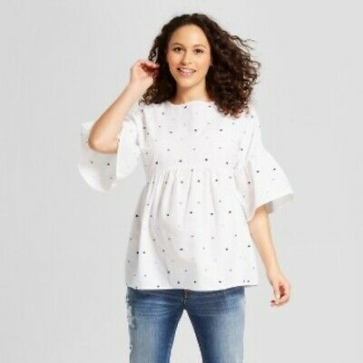89998a754a40d Isabel Maternity Women's White Embroidered Polka Dot Cotton Top Short  Sleeve XL