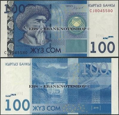 Kyrgyzstan,PNew,2016/2017,100 Som, Uncirculated - Ebanknoteshop