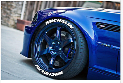 """Michelin permanent Tire Lettering Tyre Stickers 14""""-22""""  8x Decal 25-31-38mm"""