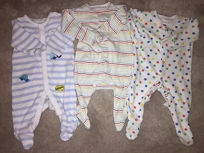 Boys Age 0-3 Months - X3 Sleepsuits - Bluezoo/ Mothercare