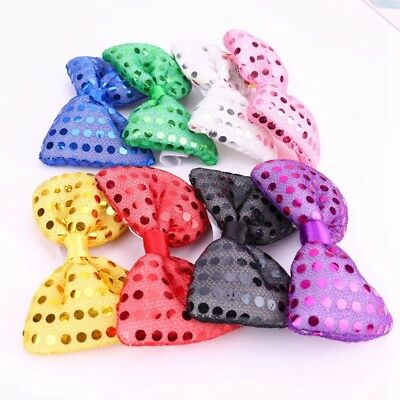 1df310b0f6b8 LED Men Sequin Bow Knot Tie Wedding Party Costume Flash Neckwear  Accessories New