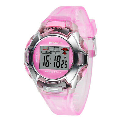 Kids Girl Student Digital Crystal Alarm Sports Waterproof Luminous Watch (Pink)