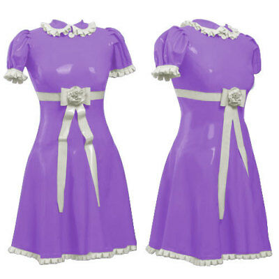 Pure Latex Rubber Fancy Dress Nurse Uniform Skirt Cosplay Part Drees Size S-XXL