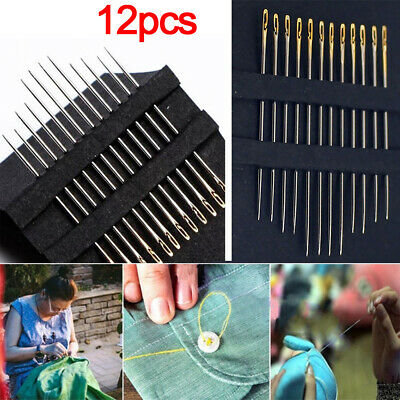 Thick Big Eye Sewing Self-Threading Needles Embroidery Hand Sewing Craft 12PCs