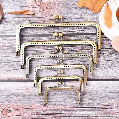 Square DIY Purse Handbag Handle Coin Bag Metal Kiss Clasp Lock Frame Handle IO