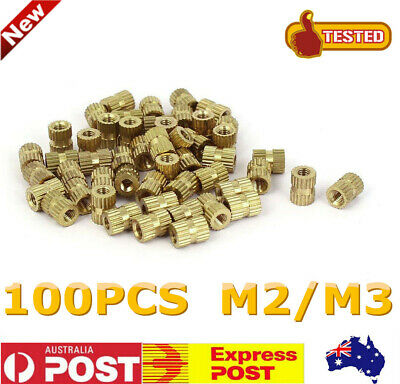 100Pcs M2/M3 Metric Threaded Brass Knurl Thread Round Inserts Nuts Tone Durable