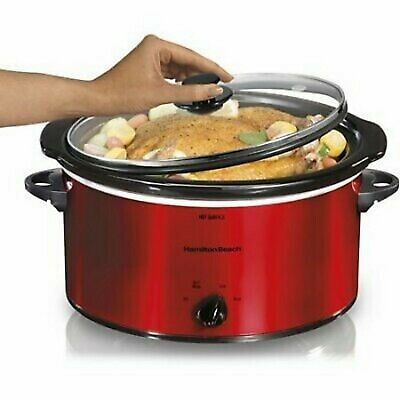 5 Quart Portable Slow Cooker RED Hamilton Beach Crock Pot Style Washer Cookware