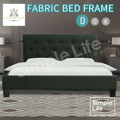 Double Size Bed Frame Charcoal Linen Fabric Arched Slat Base Bedroom Furniture