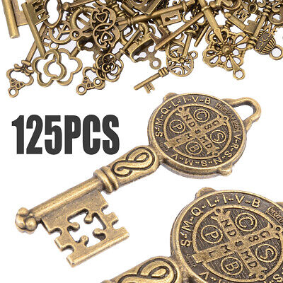 125Pcs/Lot Bronze Keys Vintage Antique Old Look Skeleton Heart Bow Pendant Decor