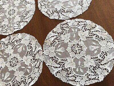Vintage Lot Four Small Matching Lace Doilies 6.5 Inches Diameter
