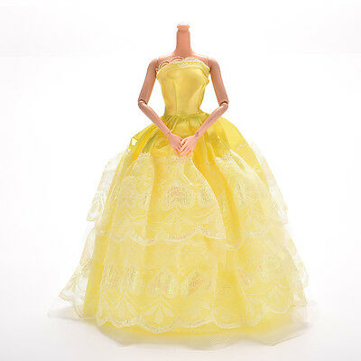 1 Pcs Lace Yellow Party Grown Dress for Pincess  s 2 Layers Girl's Gifts JB