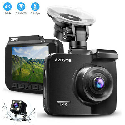 AZDOME 4.3''1080P Dual Lens Car Dash Cam Video Recorder DVR Cam Mirror Rear View