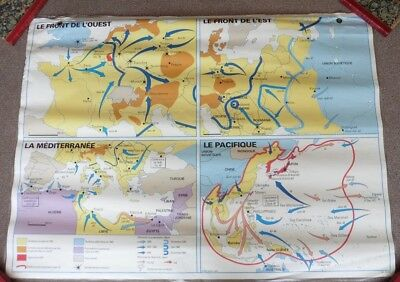 Vintage Double Sided French School Map, WW2, World War Two, 1994/9