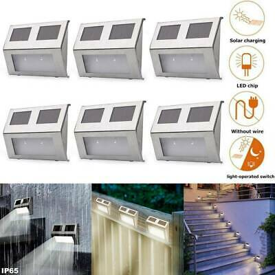 LED Solar Powered Stainless Steel Fence Path Lights Garden Landscape Patio Lamp