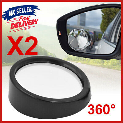 2x Side Blind Spot Car Glass View Rear 360° Wide Angle Adjustable Convex Mirror