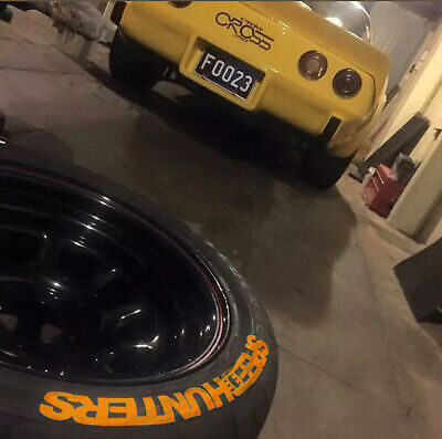 Speedhunters dark yellow permanent Tire Lettering Stickers 8x Decal 25-31-38mm