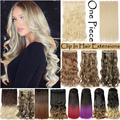 UK Real Long Clip in Hair Extensions One Piece Half Full Head Straight Curly hgw