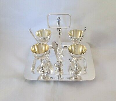 A Fine Silver Plated Egg Cruet Set - 4 Egg Cups - 1912 - Charles Truman Burrows