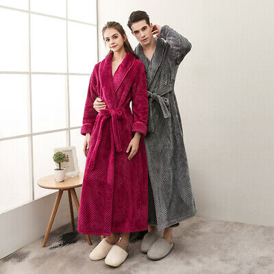 Supersoft AU Luxurious Coral Fleece Mens womens Bathrobe Dressing Gown