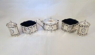 A Fine Large 5 Piece Silver Plated  Cruet Set - c1900 - Blue Glass Liners