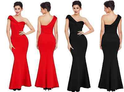 Ladies One Shoulder Ponti Gown Bridal Wedding Formal Prom Party Evening Dress