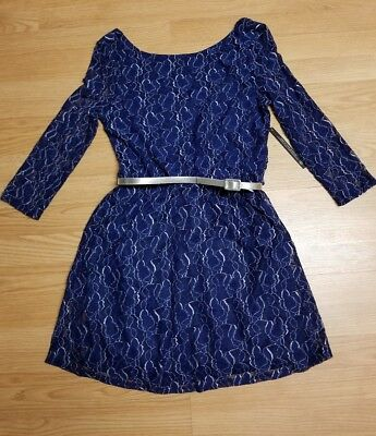 Nwt As U Wish Jr Large Lace Overlay Silver And Blue