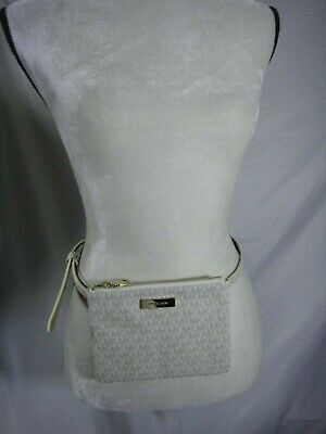 7459a1c6d7810e Michael Kors MK Logo SIGNATURE Fanny Pack Bag Belt VANILLA SZ M MEDIUM  DAMAGED!