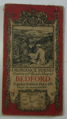 1919 Old Vintage OS Ordnance Survey Popular Edition One-Inch Map 84 Bedford