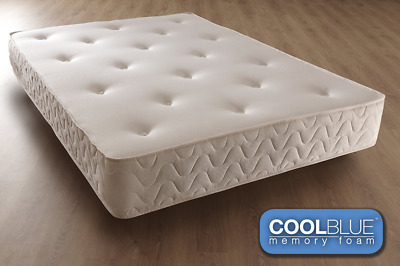 Cool Blue Memory Foam Mattress Spring 3ft Single 4ft6 Double 5ft King 6ft NEW