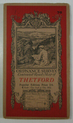 1920 Old Vintage OS Ordnance Survey Popular Edition One-Inch Map 76 Thetford