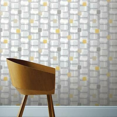 Grey and Yellow Retro Block Wallpaper by Arthouse 901901