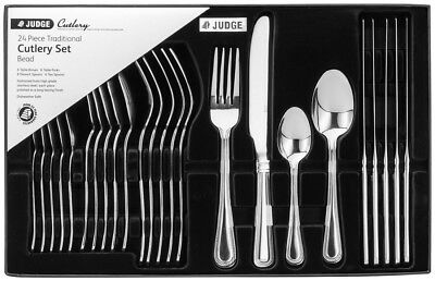Judge 24 Piece Beaded Cutlery Set 18/10 Stainless Steel Boxed 25 Year Guarantee